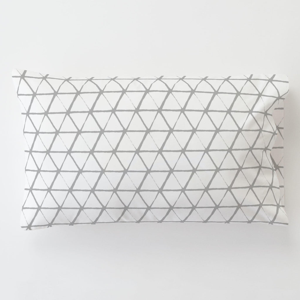 Product image for White and Silver Gray Aztec Triangles Toddler Pillow Case