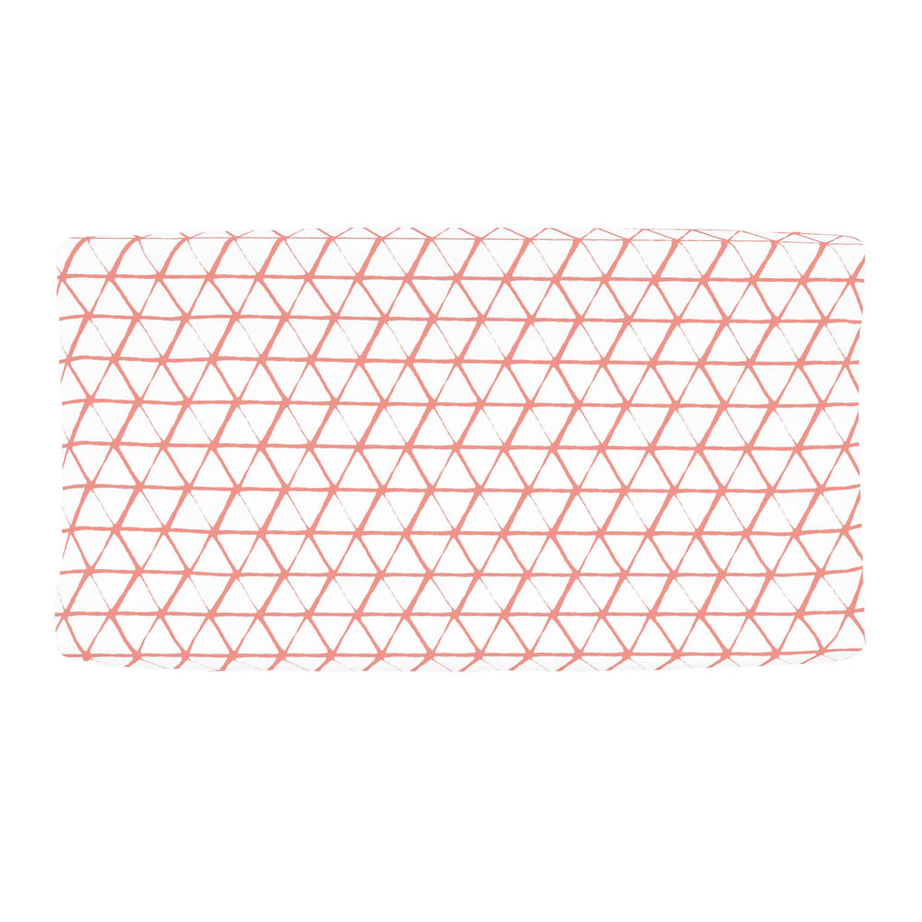 Product image for White and Light Coral Aztec Triangles Changing Pad Cover
