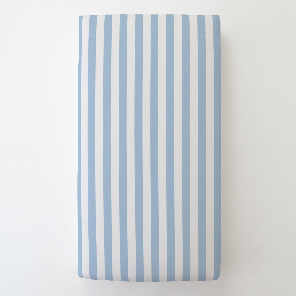 Product image for Blue Giddy Stripe Toddler Sheet Bottom Fitted
