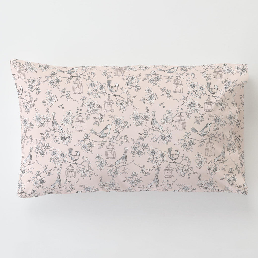 Product image for Pink and Gray Bird Cage Toddler Pillow Case