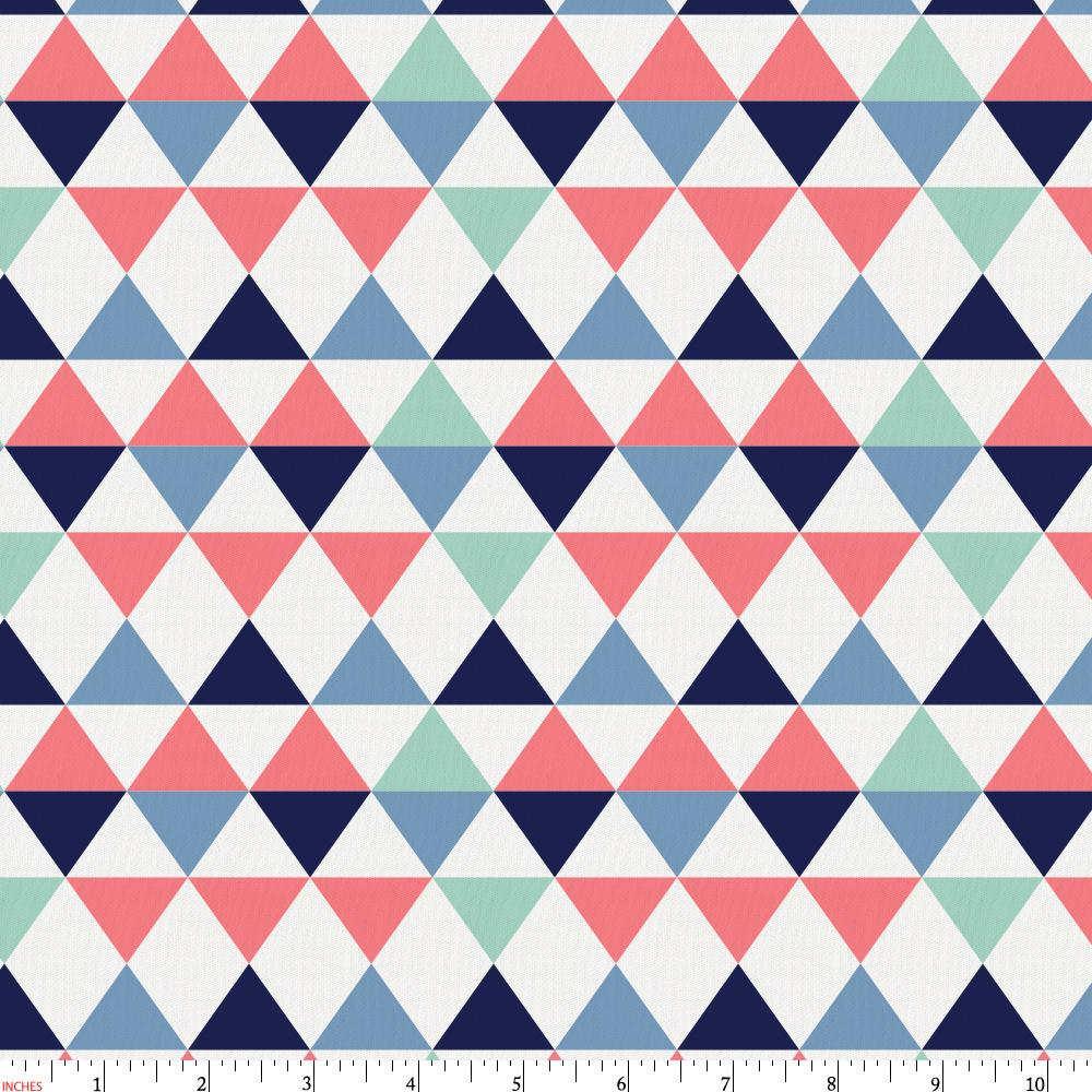 Product image for Coral and Mint Triangles Fabric