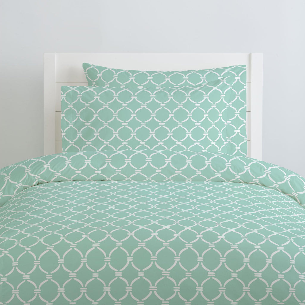 Product image for Mint and White Lattice Circles Pillow Case