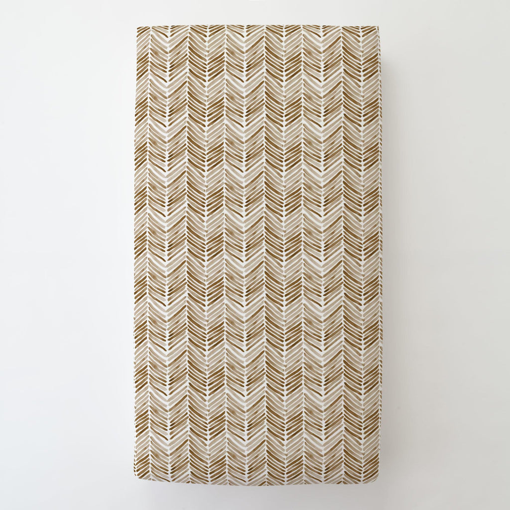 Product image for Caramel Painted Chevron Toddler Sheet Bottom Fitted
