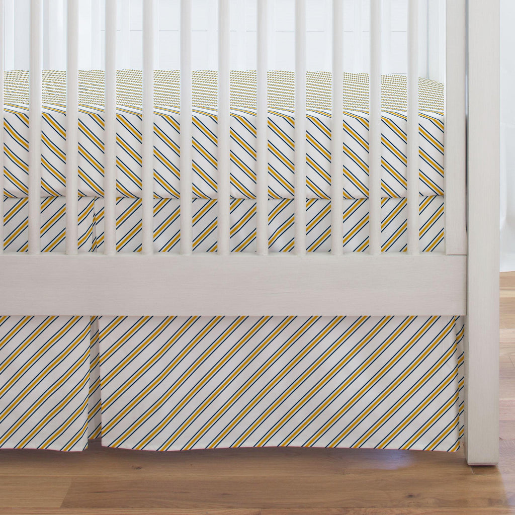 Product image for Navy and Yellow Necktie Stripe Crib Skirt Single-Pleat