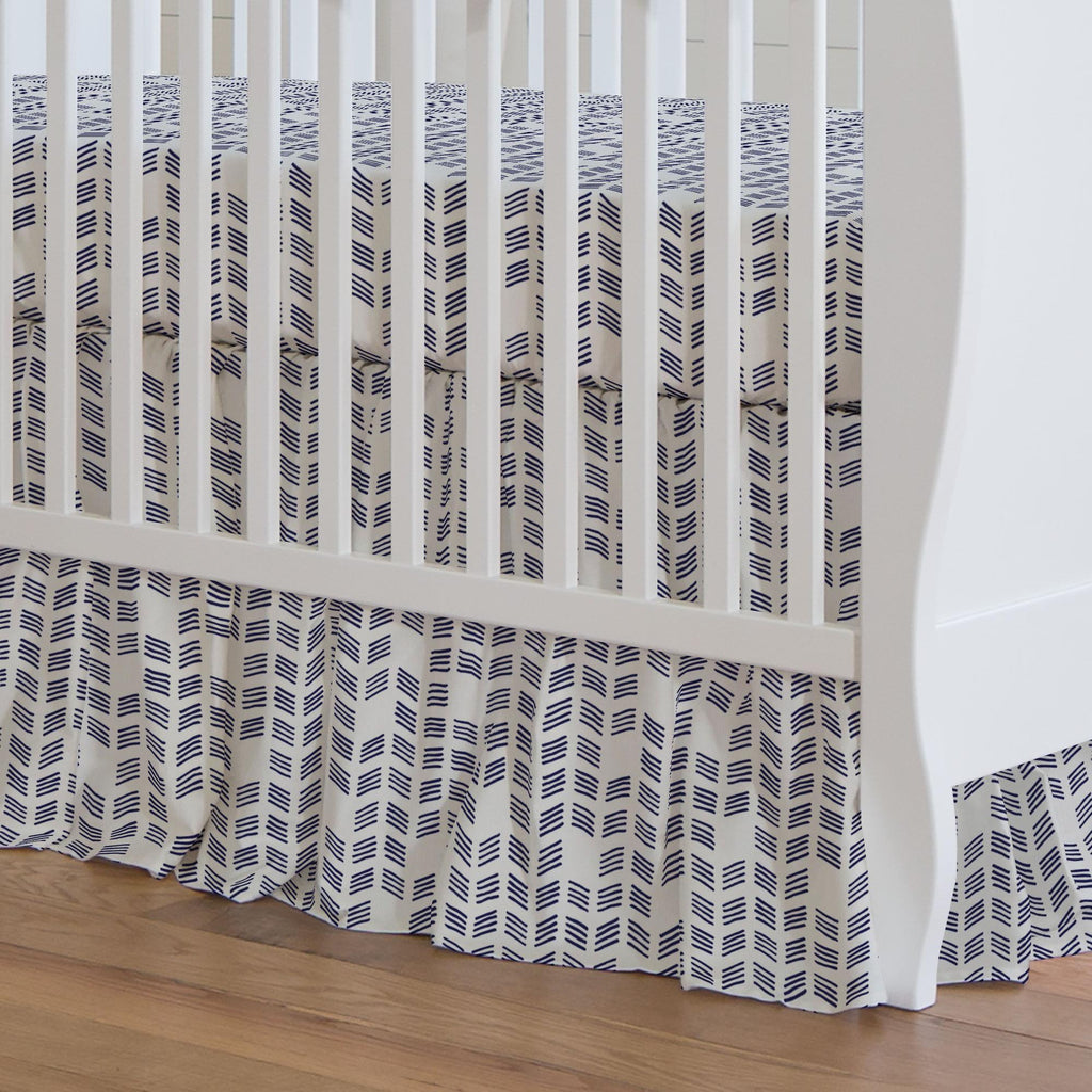 Product image for Windsor Navy Tribal Herringbone Crib Skirt Gathered