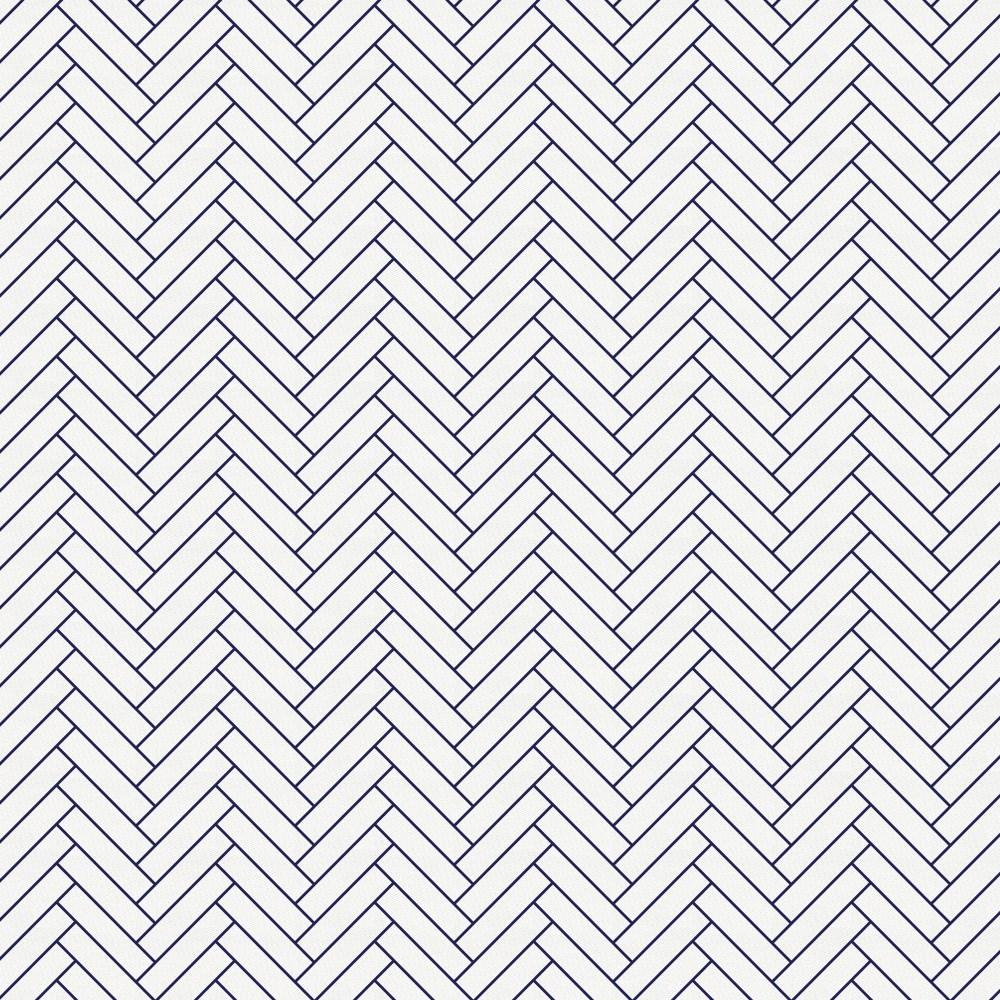 Product image for White and Navy Classic Herringbone Drape Panel