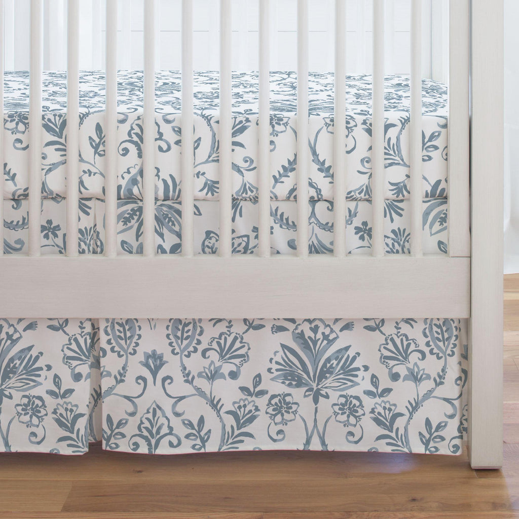 Product image for Steel Blue Coastal Damask Crib Skirt Single-Pleat