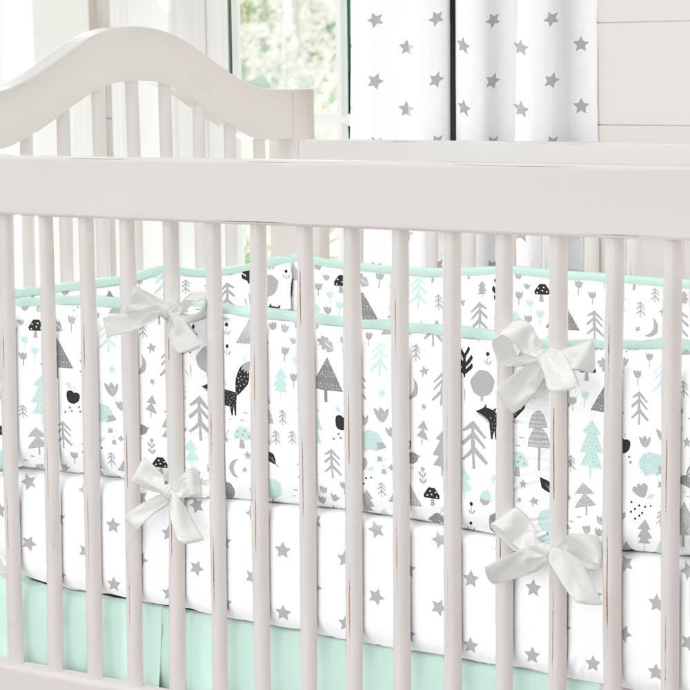 Product image for Icy Mint and Silver Gray Baby Woodland Crib Bumper