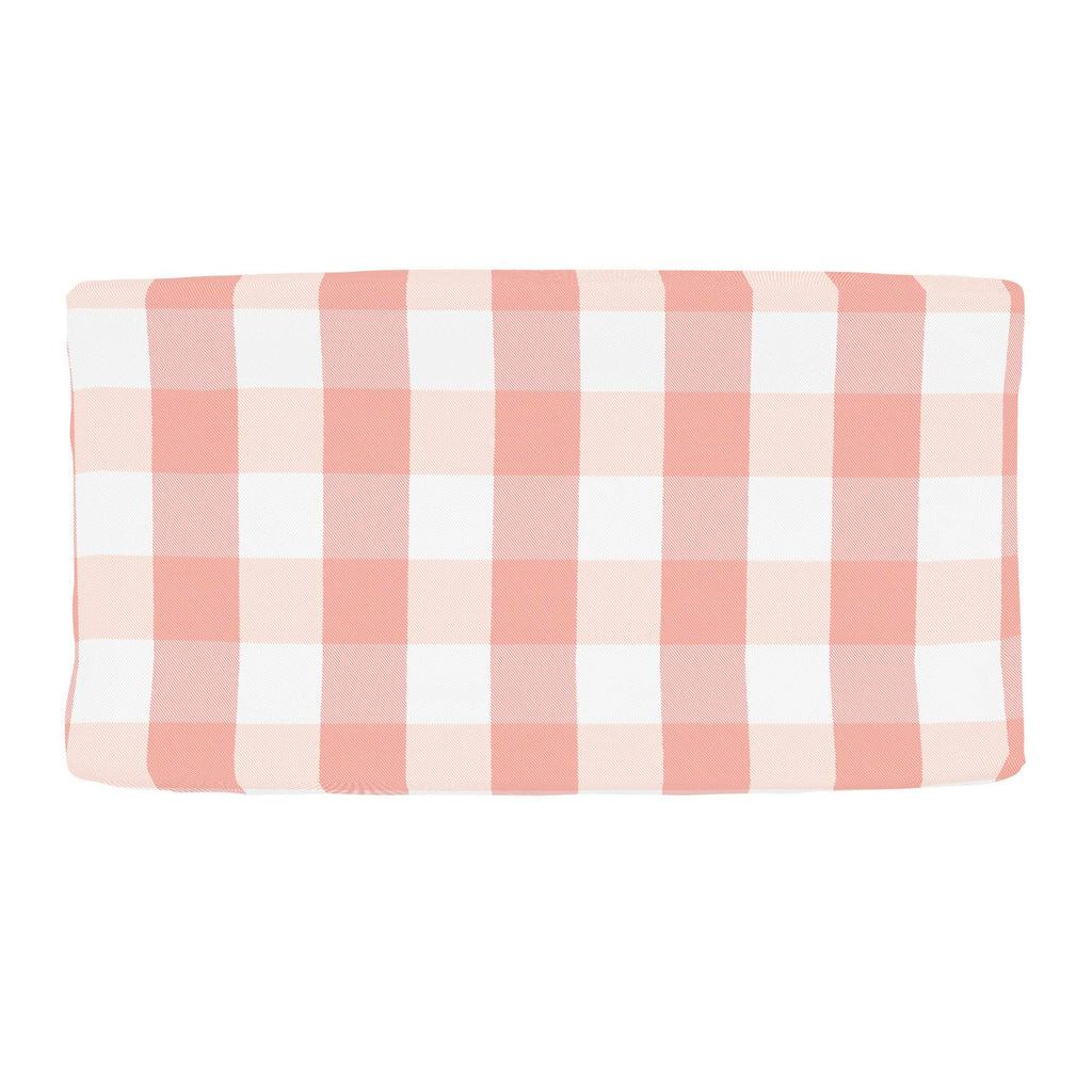 Product image for Light Coral and Peach Buffalo Check Changing Pad Cover