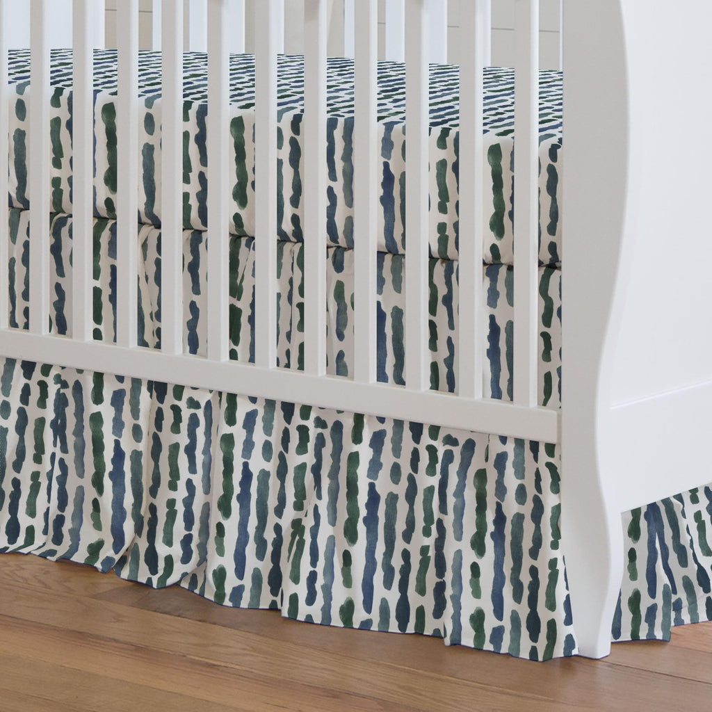 Product image for Sea Green Stripe Crib Skirt Gathered