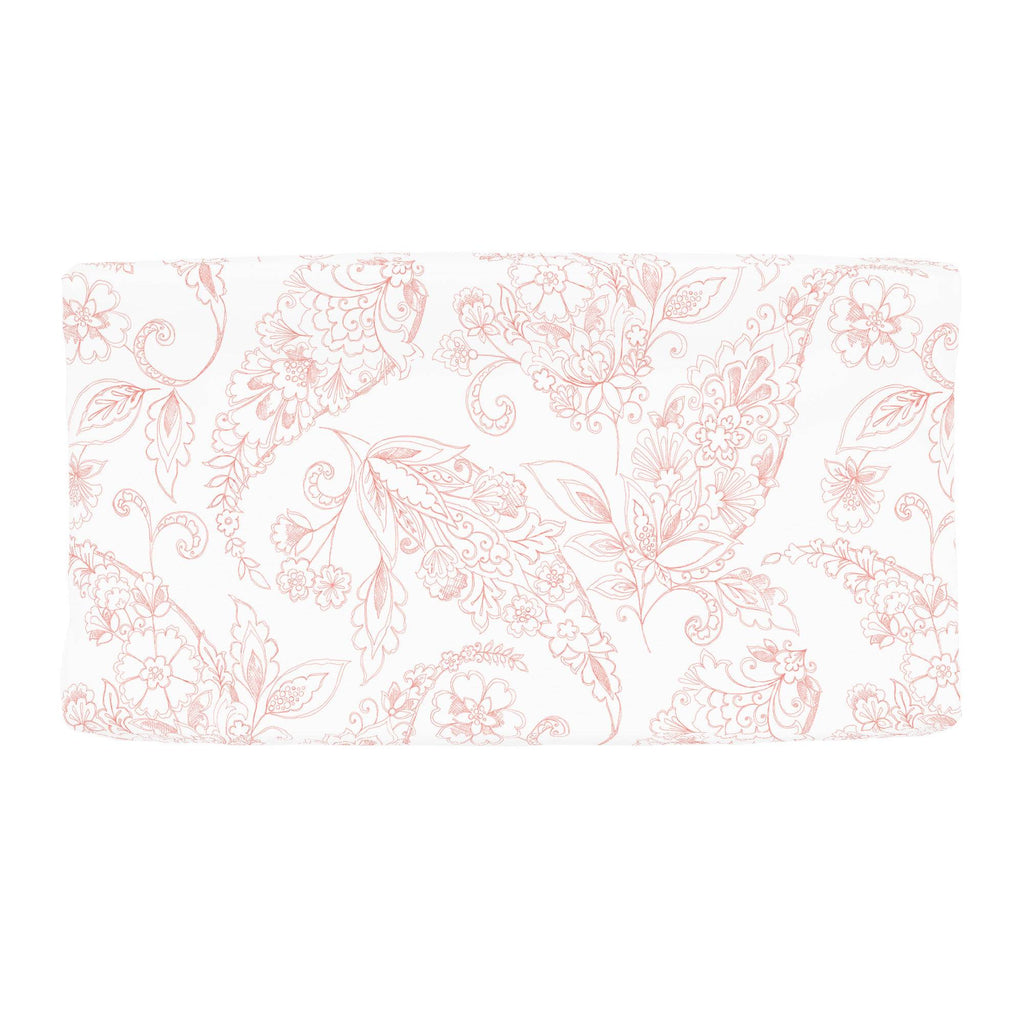 Product image for Light Coral Sketchbook Floral Changing Pad Cover