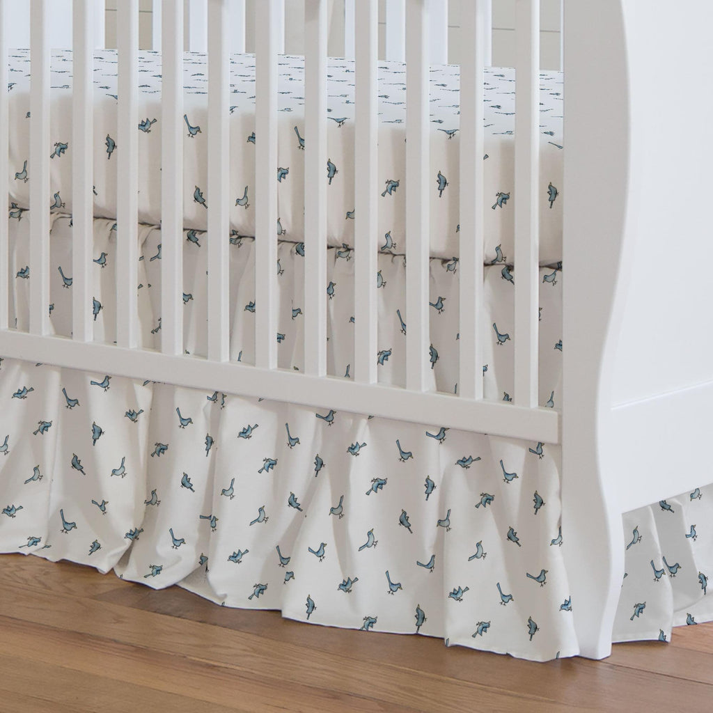 Product image for Blue Birds Crib Skirt Gathered