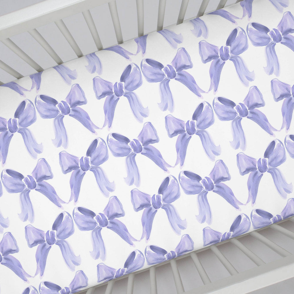 Product image for Lilac Watercolor Bows Crib Sheet