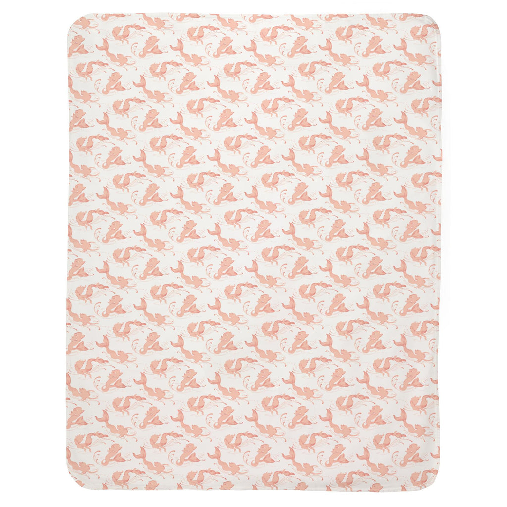 Product image for Peach Swimming Mermaids Baby Blanket