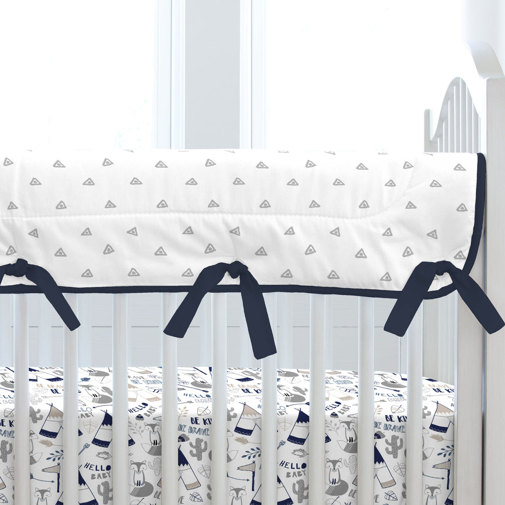 Product image for Navy Brave Fox Crib Rail Cover