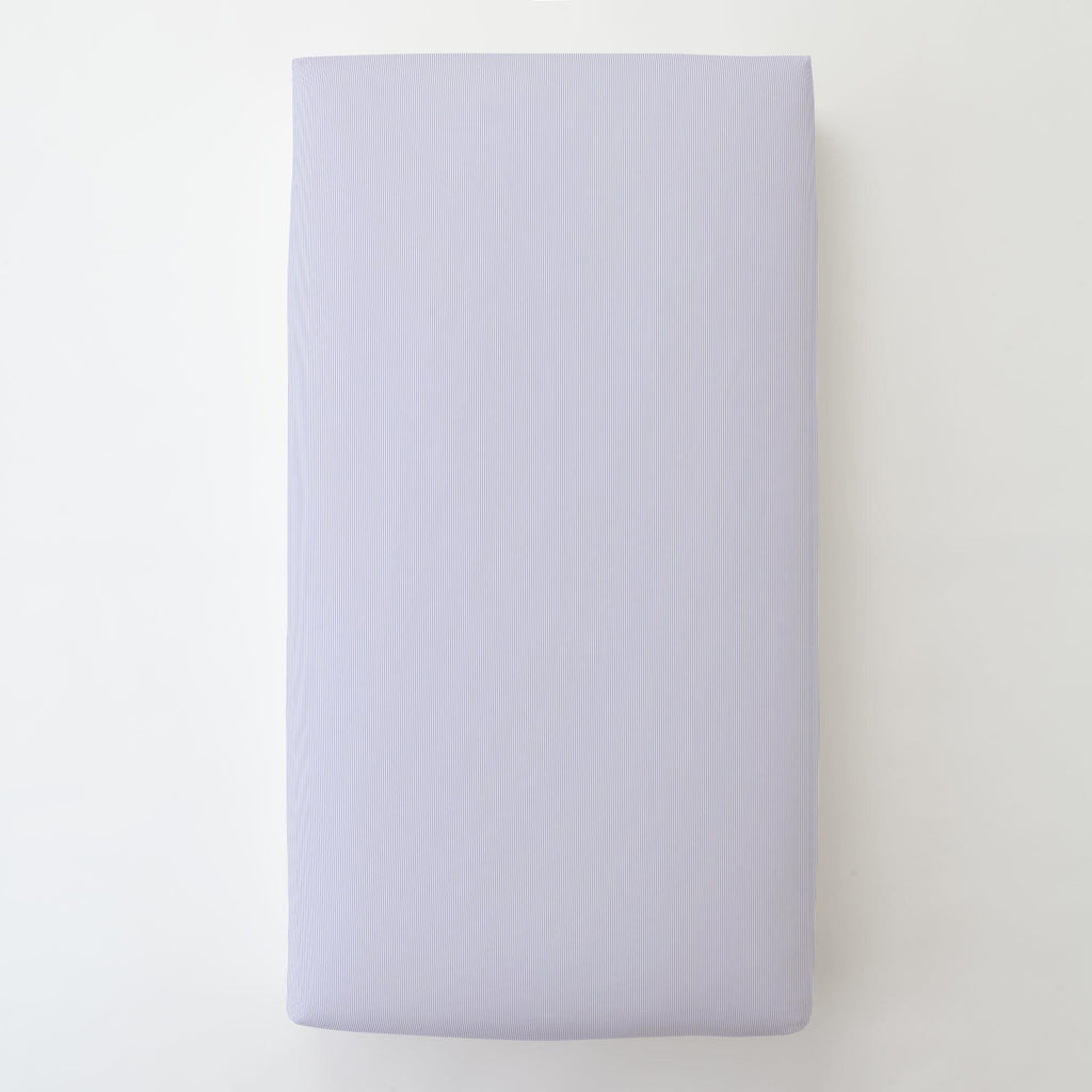 Product image for Lilac Mini Stripe Toddler Sheet Bottom Fitted