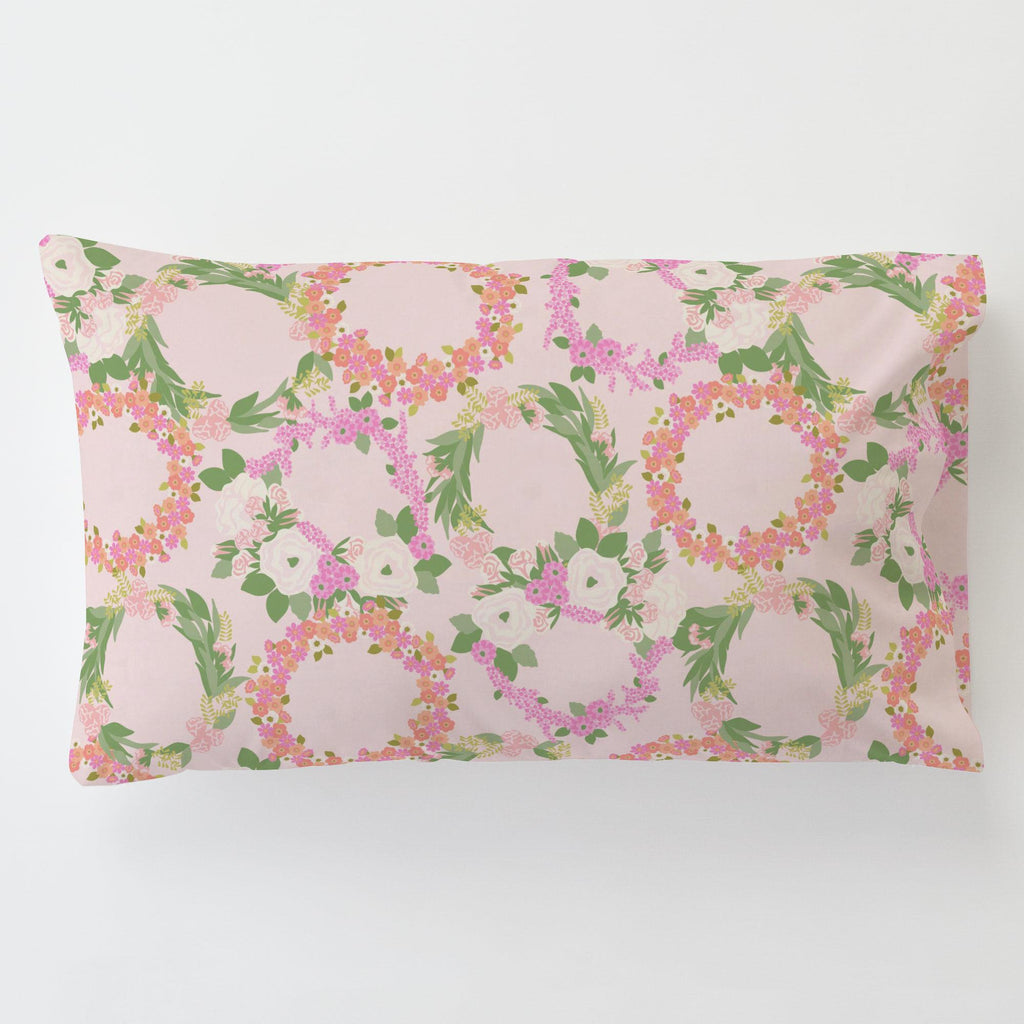 Product image for Pink and Coral Floral Wreath Toddler Pillow Case