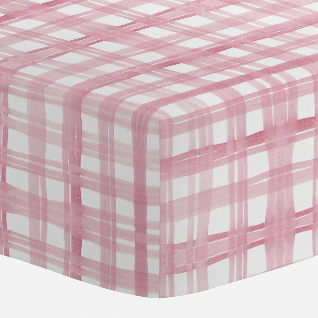 Product image for Pink Watercolor Plaid Mini Crib Sheet