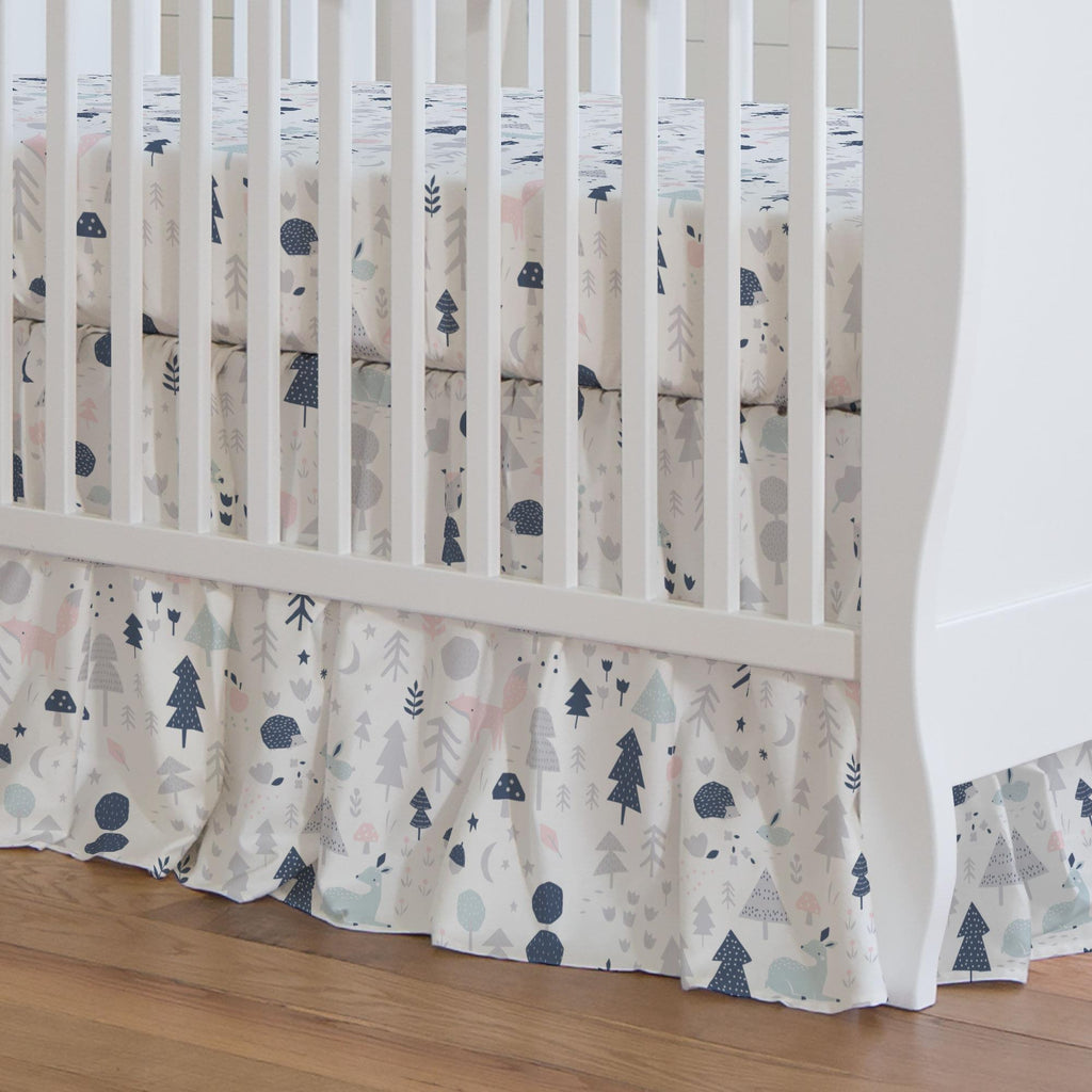 Product image for Gray and Pink Baby Woodland Crib Skirt Gathered
