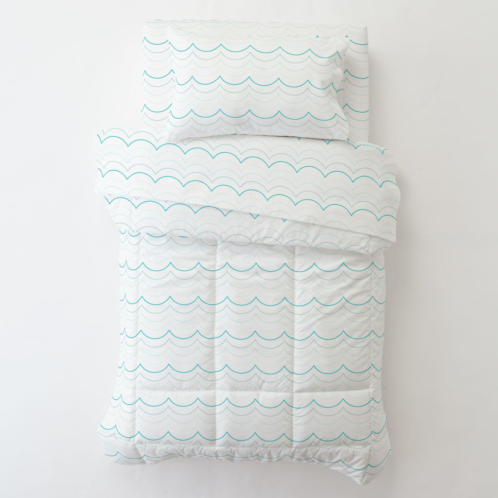 Product image for Teal Wave Stripe Toddler Comforter