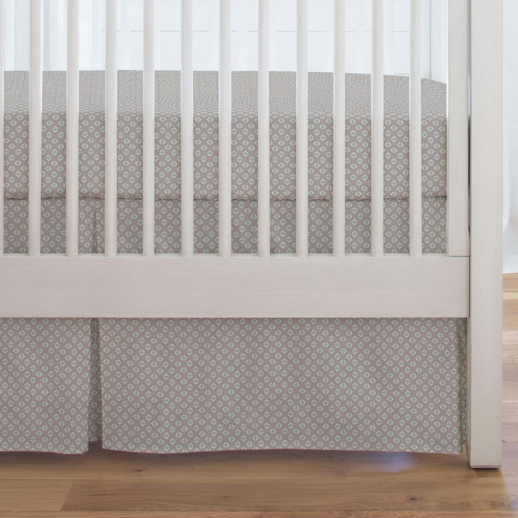 Product image for Taupe and Mint Diamond Crib Skirt Single-Pleat