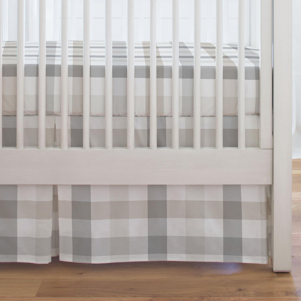 Product image for Gray and Taupe Buffalo Check Crib Skirt Single-Pleat