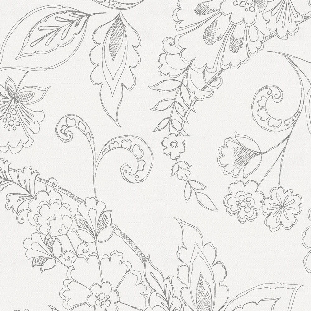 Product image for Cloud Gray Sketchbook Floral Drape Panel