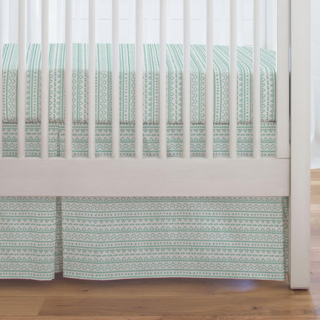 Product image for Mint Baby Aztec Crib Skirt Single-Pleat