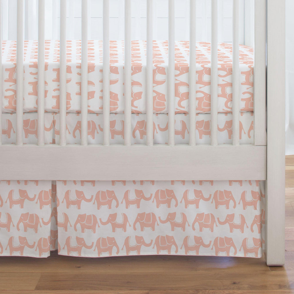 Product image for Peach Marching Elephants Crib Skirt Single-Pleat