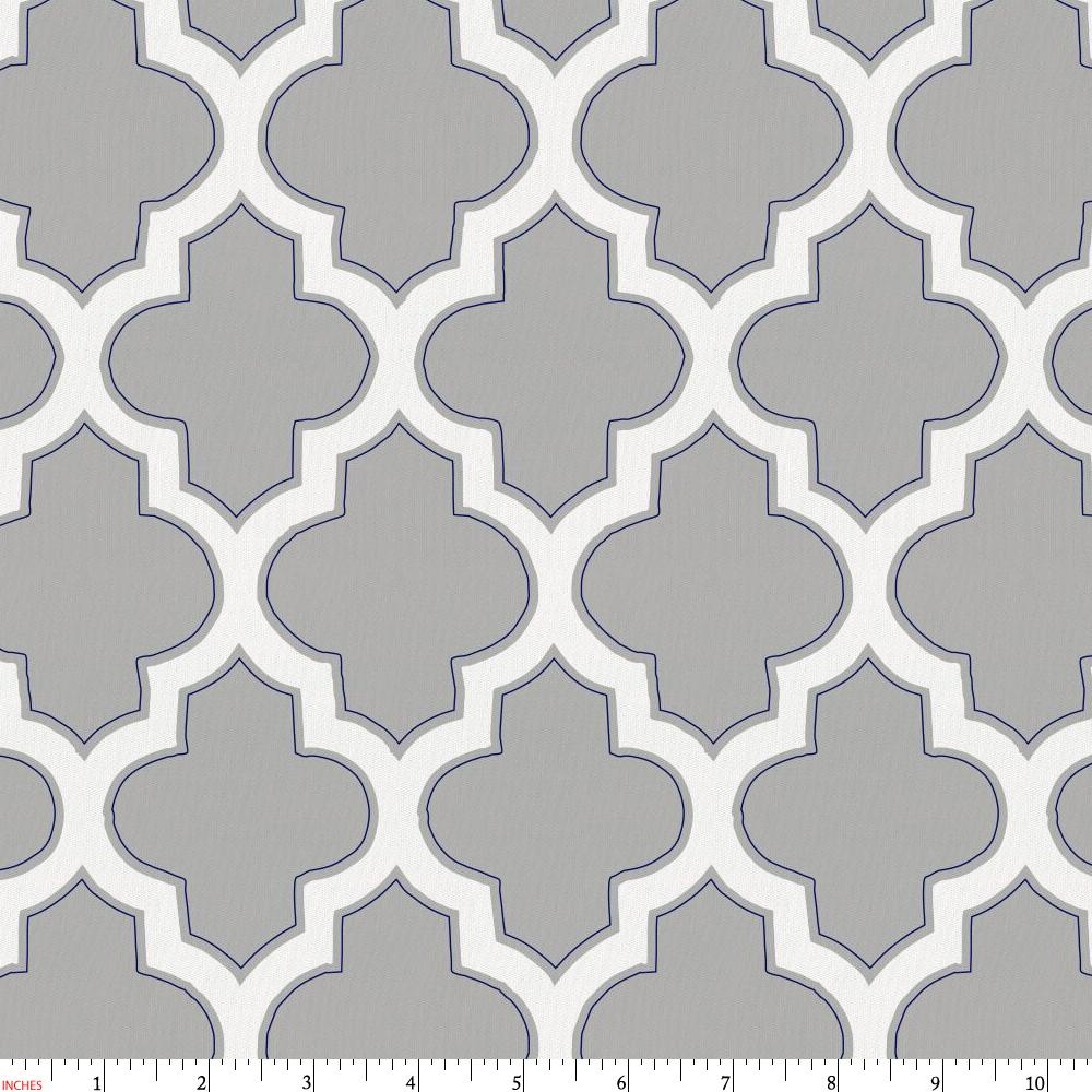 Product image for Silver Gray and Navy Hand Drawn Quatrefoil Fabric