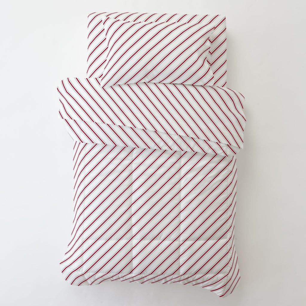 Product image for Gray and Crimson Necktie Stripe Toddler Pillow Case with Pillow Insert
