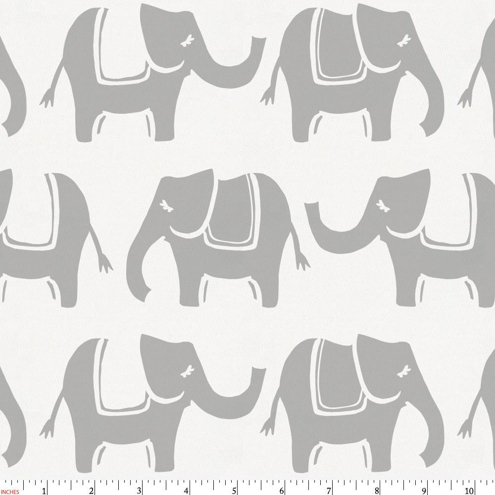 Product image for Silver Gray Marching Elephants Fabric