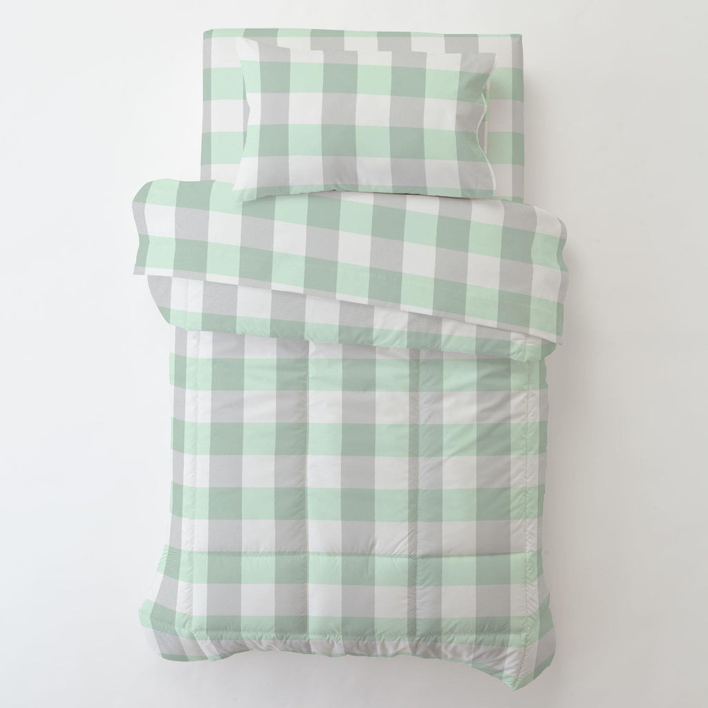 Product image for Mint and Gray Buffalo Check Toddler Pillow Case with Pillow Insert