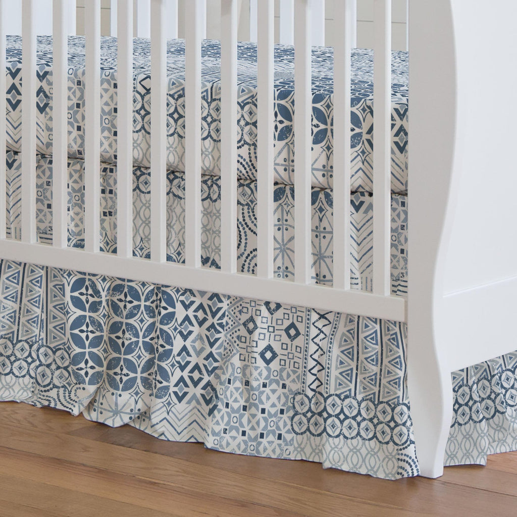Product image for Denim Patchwork Crib Skirt Gathered