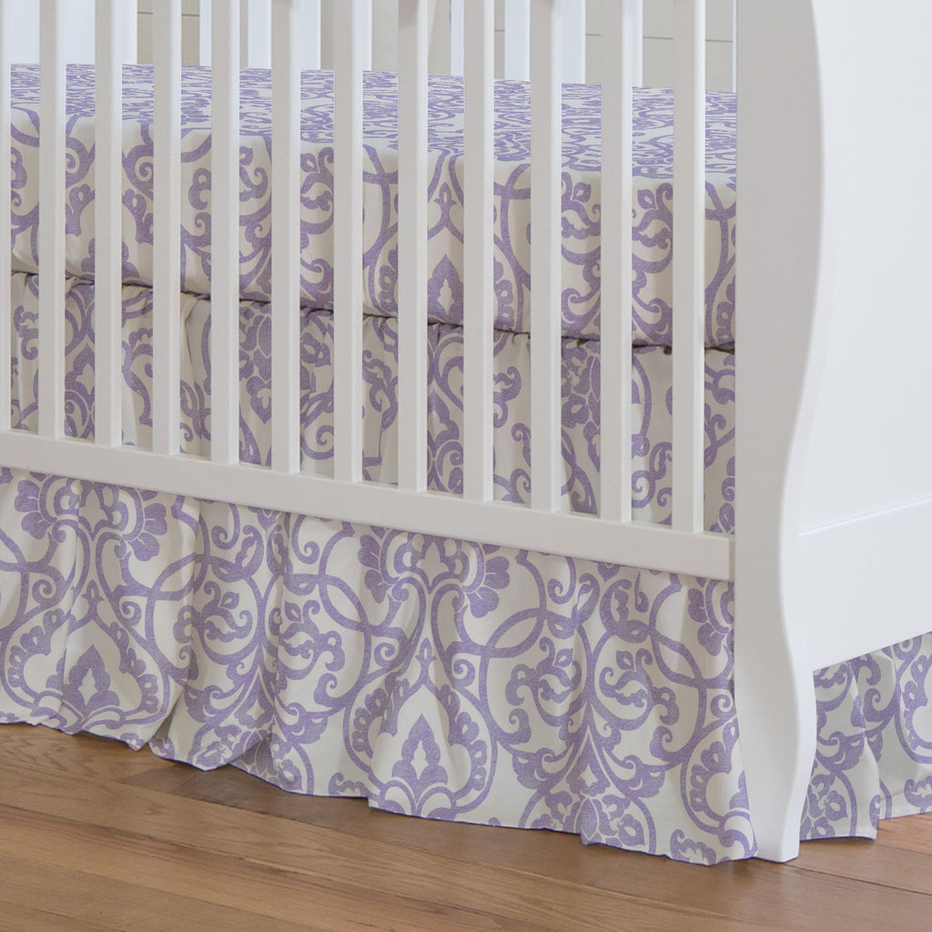 Product image for Lilac Filigree Crib Skirt Gathered
