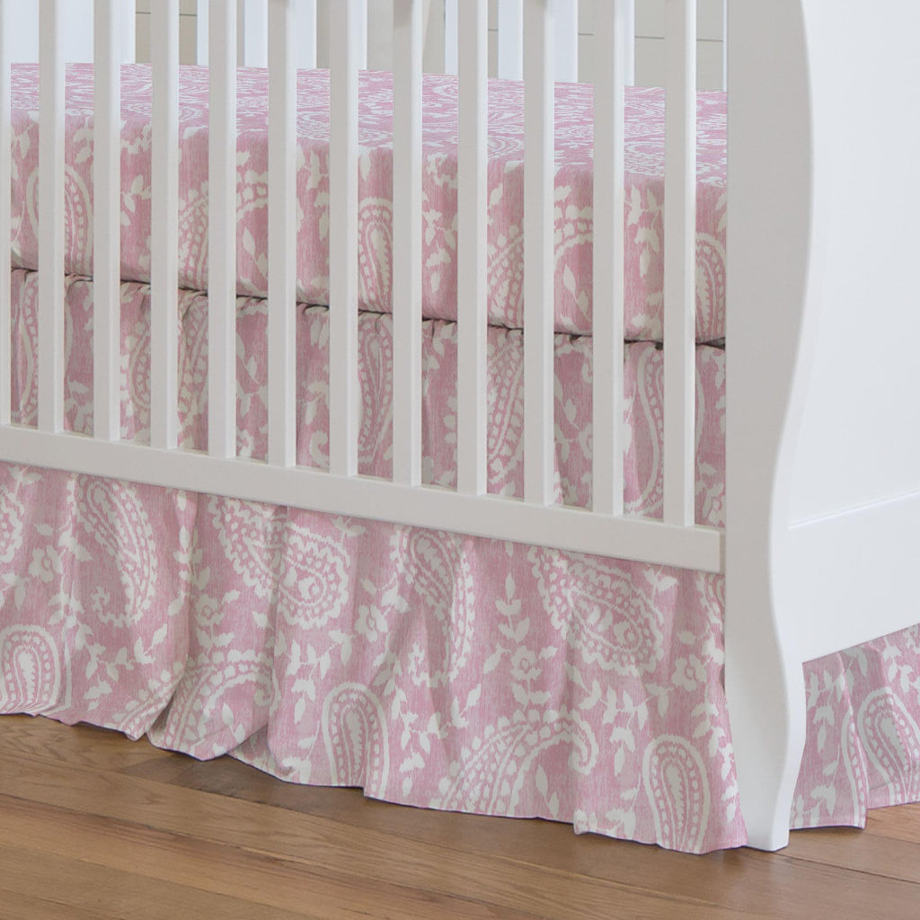Product image for Pink Paisley Crib Skirt Gathered