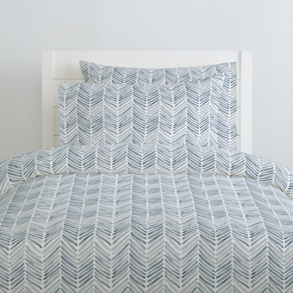 Product image for Steel Blue Painted Chevron Pillow Case