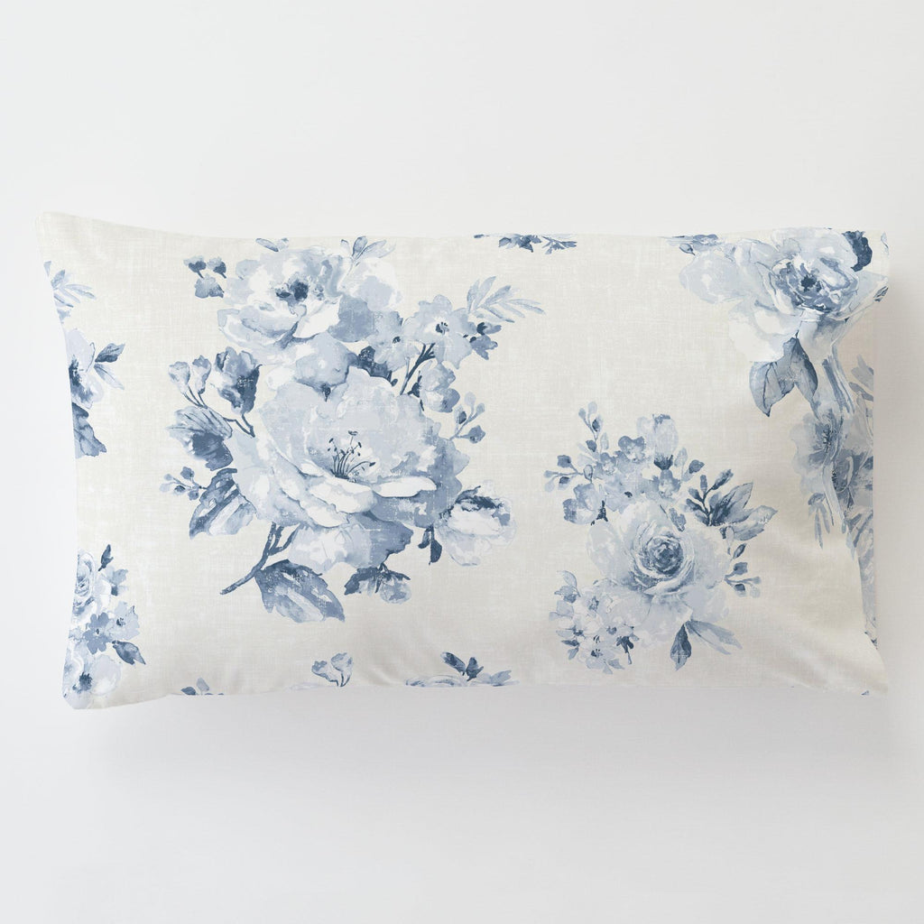 Product image for Blue Farmhouse Floral Toddler Pillow Case