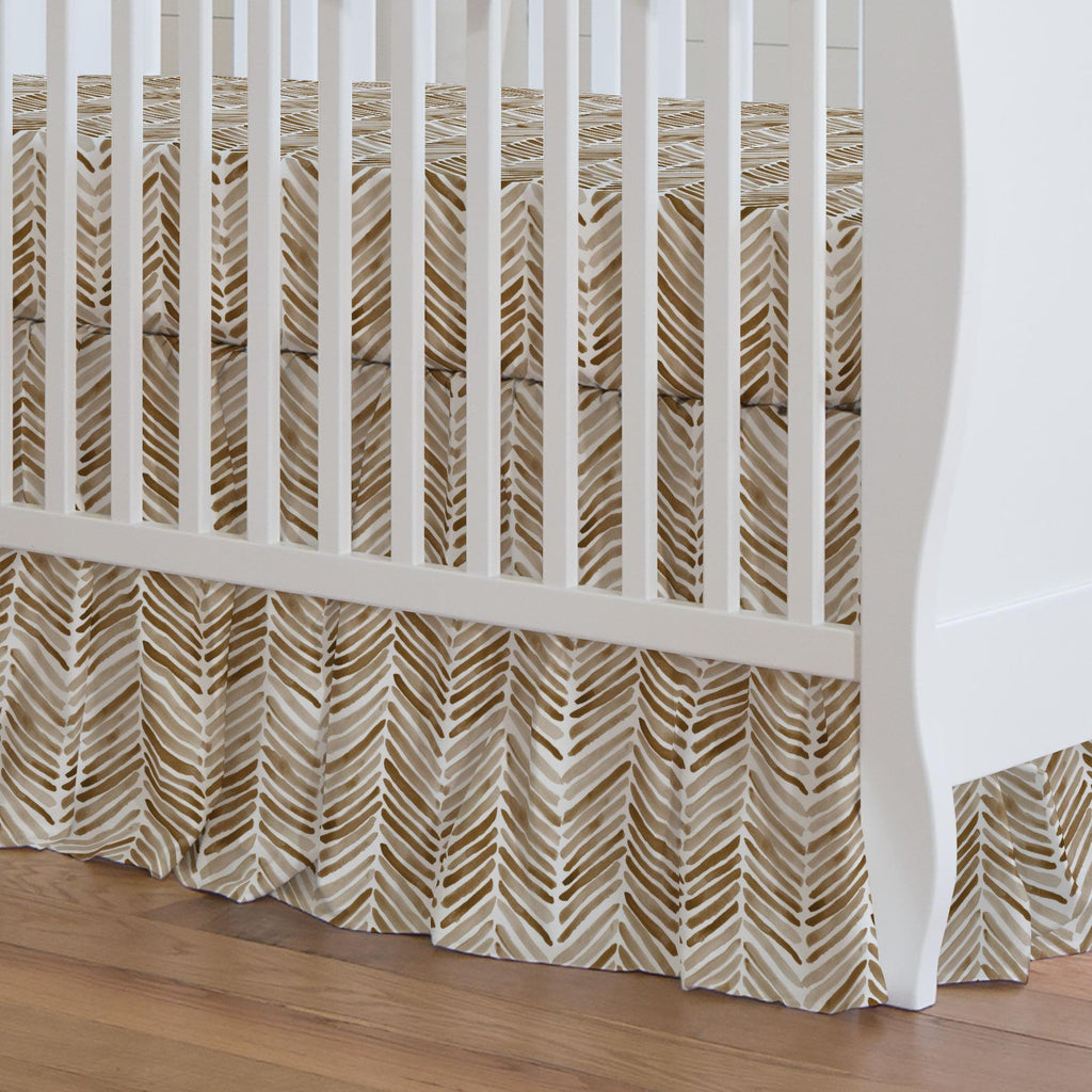 Product image for Caramel Painted Chevron Crib Skirt Gathered