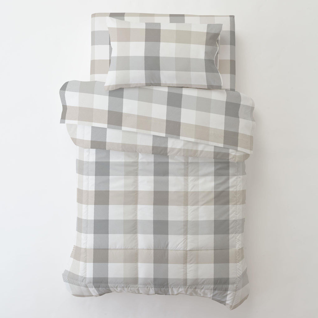 Product image for Gray and Taupe Buffalo Check Toddler Pillow Case with Pillow Insert