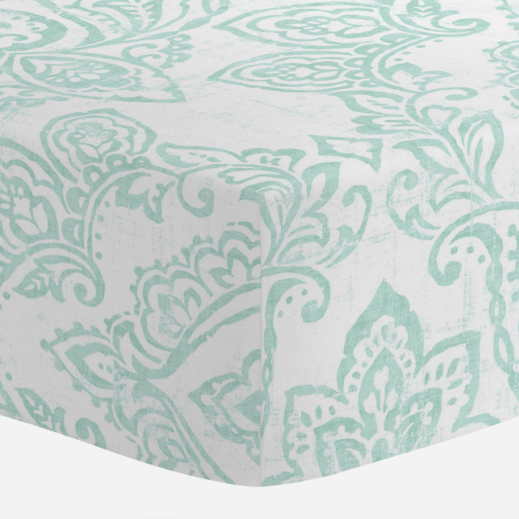 Product image for White and Icy Mint Vintage Damask Mini Crib Sheet