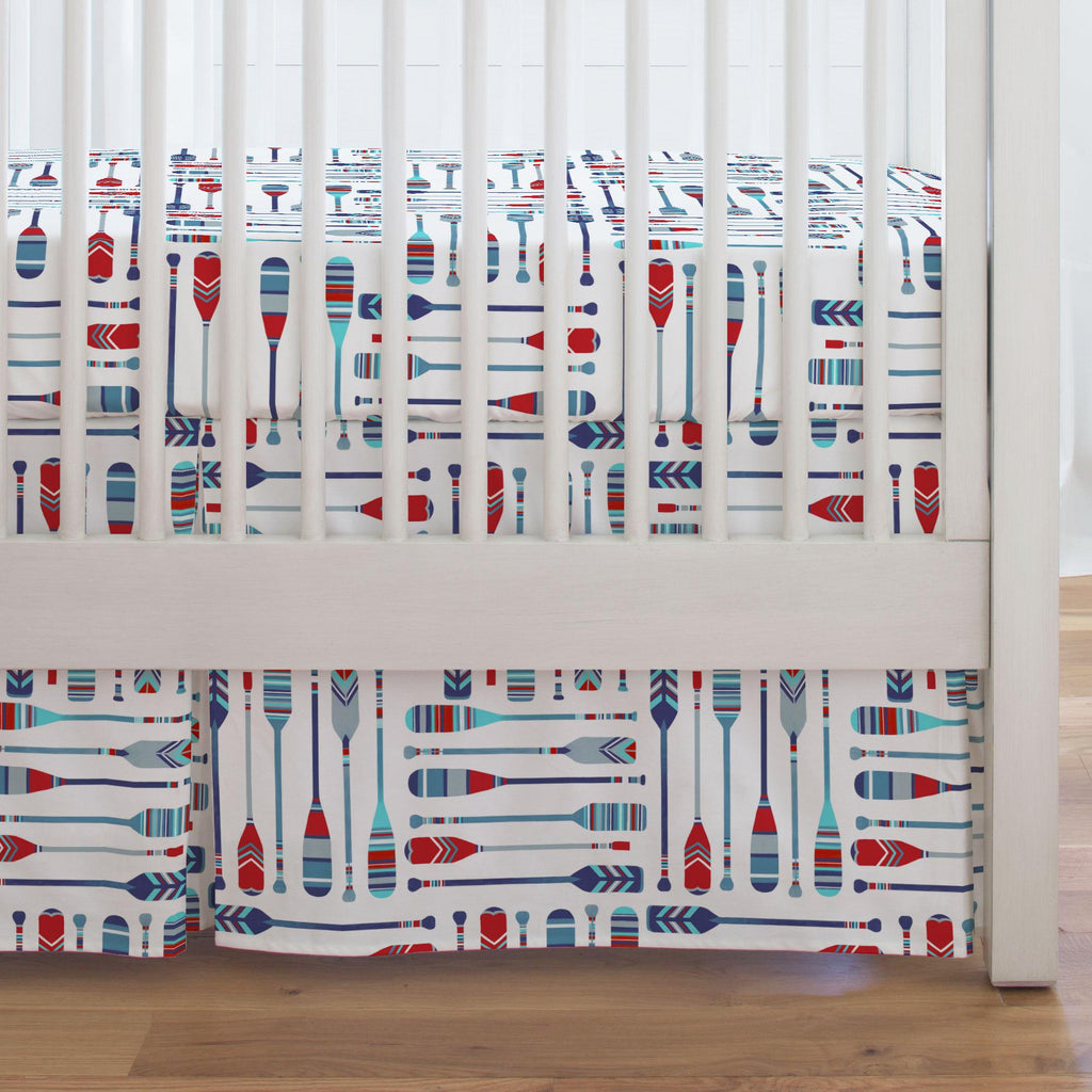 Product image for Red and Blue Oars Crib Skirt Single-Pleat