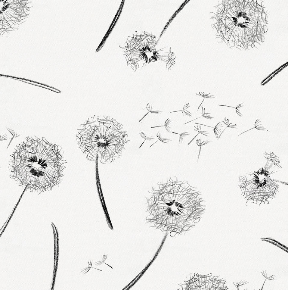 Product image for Hand Drawn Dandelion Drape Panel
