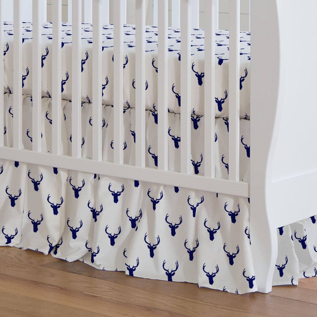 Product image for Navy Deer Silhouette Crib Skirt Gathered