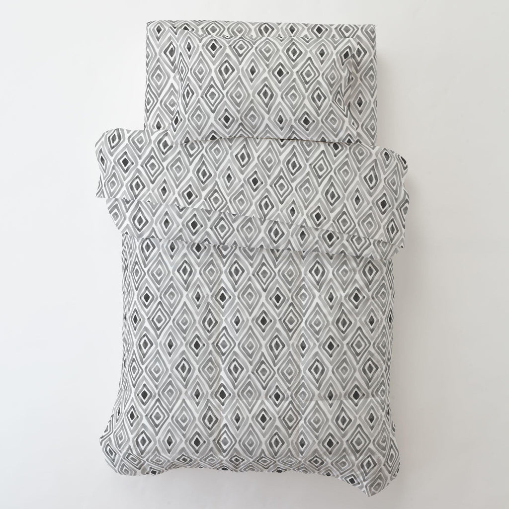 Product image for Gray Painted Diamond Toddler Pillow Case with Pillow Insert