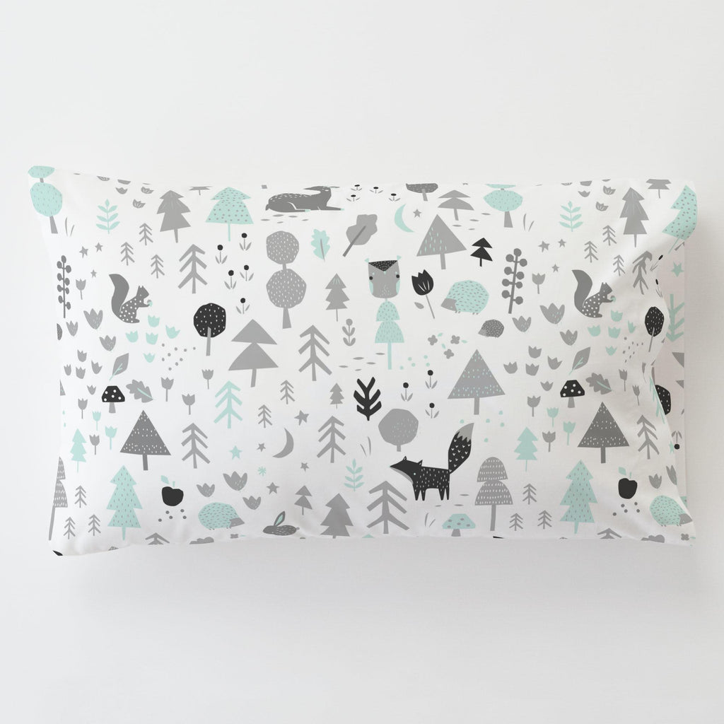 Product image for Icy Mint and Silver Gray Baby Woodland Toddler Pillow Case