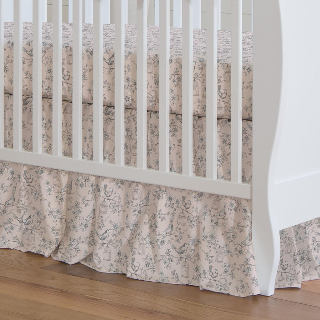 Product image for Pink and Gray Bird Cage Crib Skirt Gathered