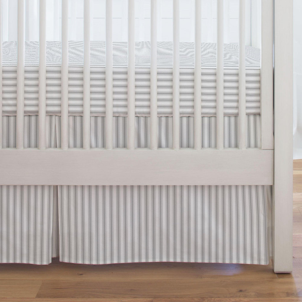 Product image for Cloud Gray Ticking Stripe Crib Skirt Single-Pleat