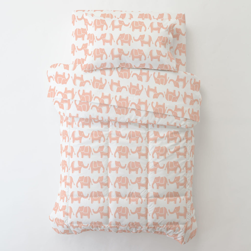 Product image for Peach Marching Elephants Toddler Comforter