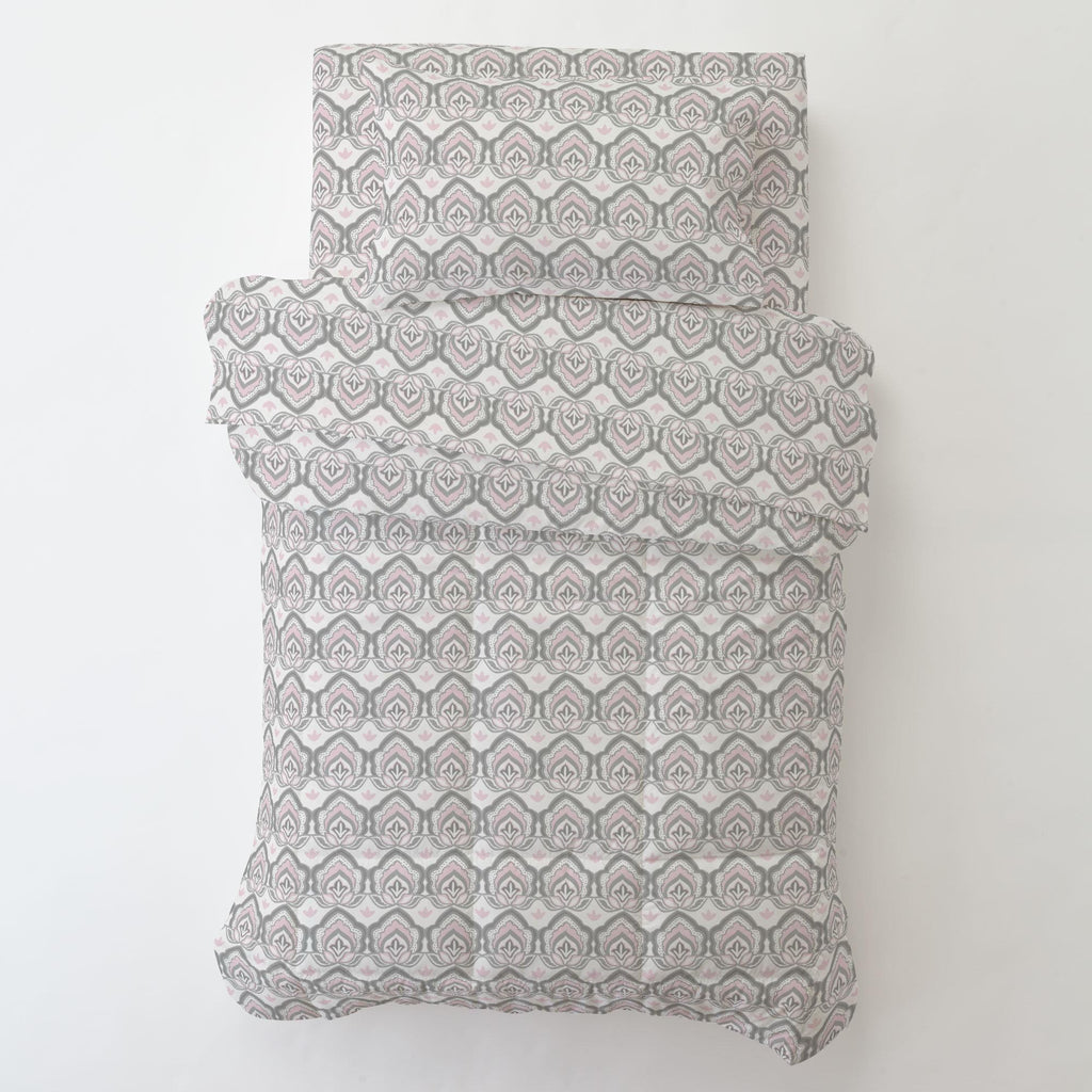 Product image for Pink and Gray Modern Floral Toddler Comforter